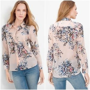 WHBM PINK FLORAL Shirt Blouse Silk Cotton Blend 14